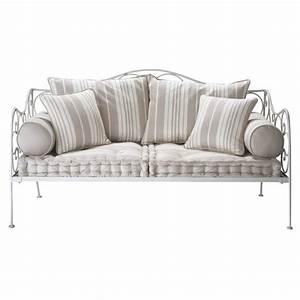 banquette a rayures 2 places en coton justine cabinet With tapis persan avec canape banquette maison du monde