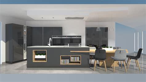 table de cuisine en stratifié cuisine moderne avec îlot phénix gris anthracite et bois