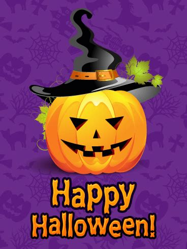 witch hat pumpkin happy halloween card birthday
