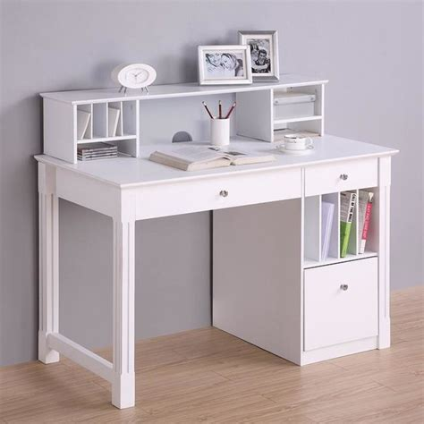 deluxe white wood computer desk with hutch modern desks and hutches by overstock