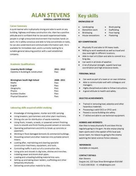 General Resume Tips by Sle Cover Letter For Resume General Labor General Labor Resume Sles Visualcv