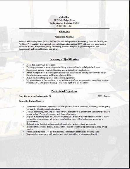 accounting auditing resumeexamplessamples  edit  word