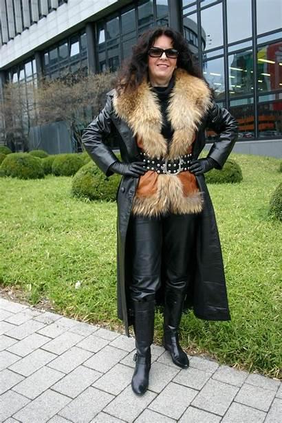Leather Fur Coat Gloves Lady Mistresses Mature