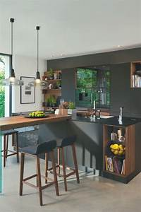 Kücheninsel Bar Theke : moderne k che mit bar 6 ideen f r eine bartheke aus holz stein und beton offene k chen ~ Markanthonyermac.com Haus und Dekorationen