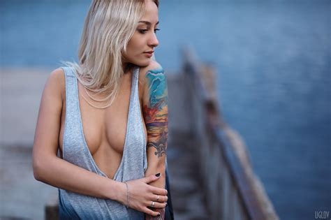 wallpaper women model blonde depth  field long hair dress tattoo blue tank top
