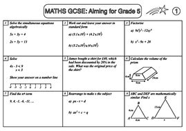 gcse maths revision sle sheet aiming for grade 5 by