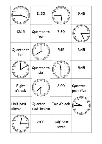 time matching cards  rosabellaangelica teaching