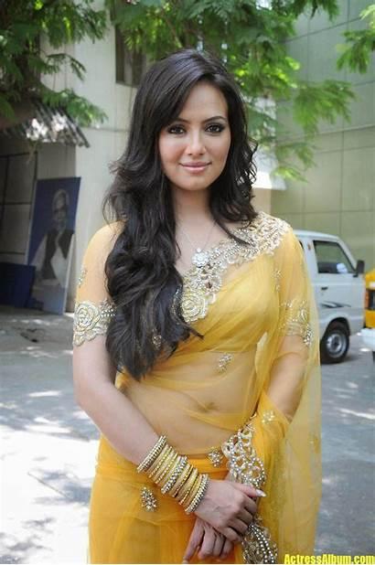 Sana Khan Latest Navel Saree Yellow Transparent