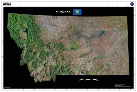 montana satellite poster map aerial views  space