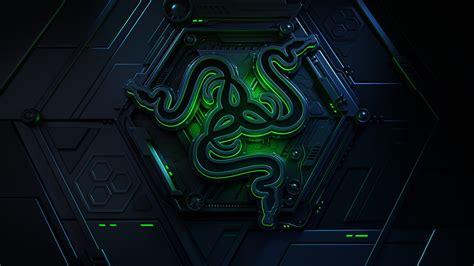 wallpaper razer logo dark background  green hd