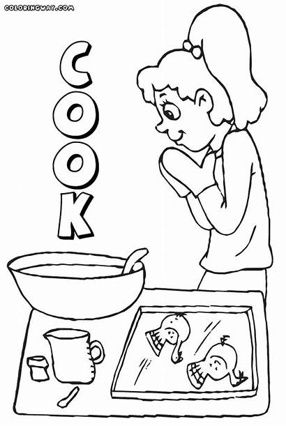 Coloring Cook Cooking Kitchen Mom Coloringhome Popular