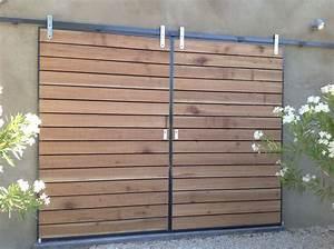 Portail En Bois : tourdissant portail coulissant bois exotique avec volets ~ Premium-room.com Idées de Décoration