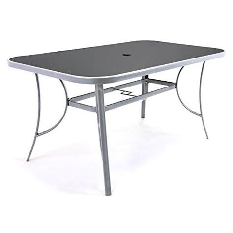 gartentisch mit schirmloch nexos gartentisch esstisch terrassentisch glastisch glasplatte schwarz silber grau 150 cm
