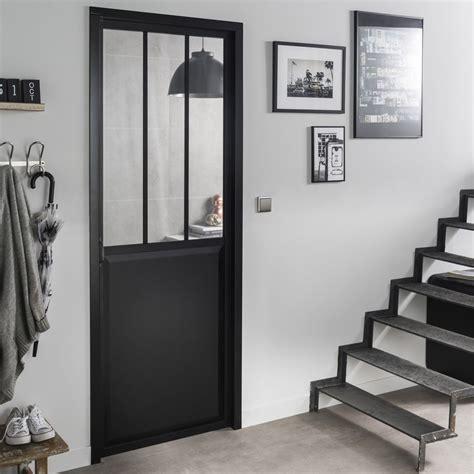 bloc porte placard cuisine bloc porte noir atelier verre clair artens h 204 x l 73
