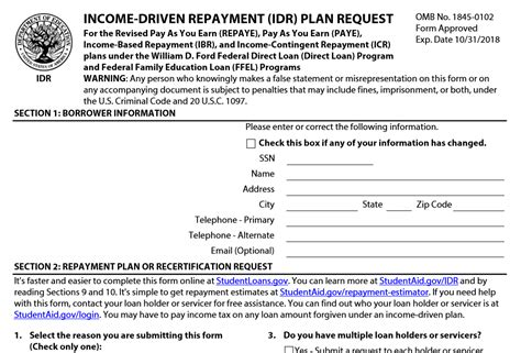 irs repayment plan form income based repayment form staruptalent