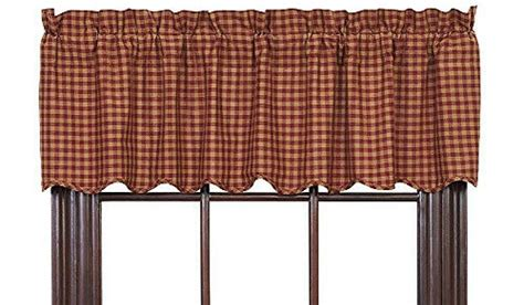 New Primitive Country Homespun Burgundy Tan Checked Scalloped Curtain Valance Large Curtain Hooks Boat Fabric Where Can I Buy Blackout Curtains Asian Inspired Shower Sewing Instructions Designer What Are Air Strip Door