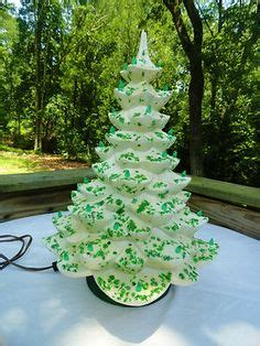 vintage  lighted musical ceramic christmas tree sherbet lime  white frosted holiday