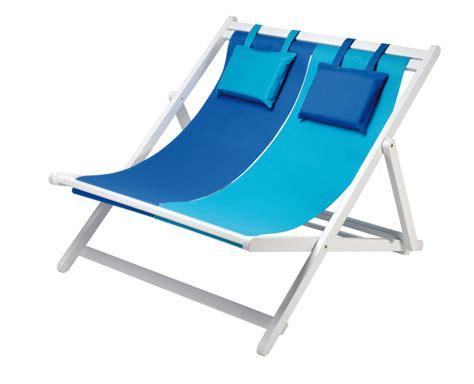 chaise longue plage transat duo bleu