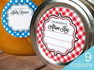 gingham custom kitchen labels round stickers for canning jars With custom sticker labels for jars