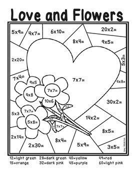 valentines day multiplication color  number freebie