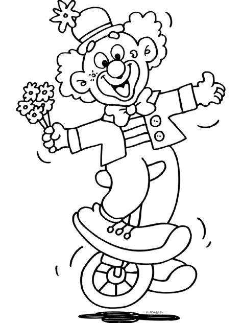 Kleurplaat Clown Met Ballonnen by Eenwieler Circus Clown Knutselpagina Nl Knutselen