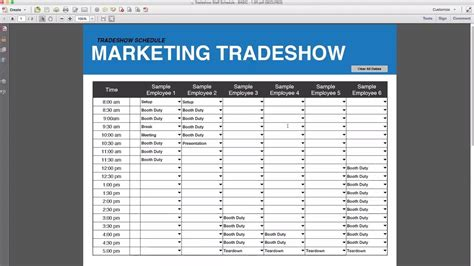 Trade Show Booth Duty Schedule Template tradeshow staff schedule template free download youtube