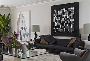 black painted room black and white glamour decor With kitchen colors with white cabinets with living room metal wall art