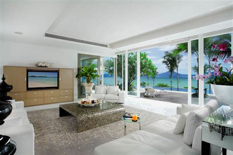 White Sofas, Rug, Glass Sliding Doors, Oceanfront Villa in
