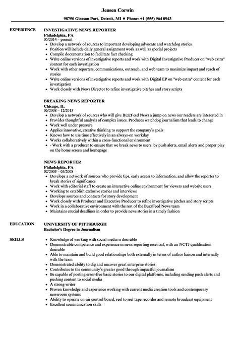 Reporter Resume by News Reporter Resume Sles Velvet
