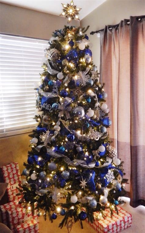 christmas tree blue silver white  gold  mesh