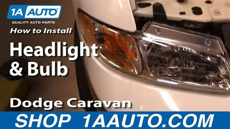 install replace headlight  bulb dodge caravan