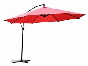 sonnenschirm mit led 350 cm rot gratis angebotch With französischer balkon mit sonnenschirm 180 cm