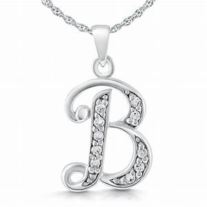 initial letter b necklace sterling silver cubic zirconia With sterling silver letter b necklace
