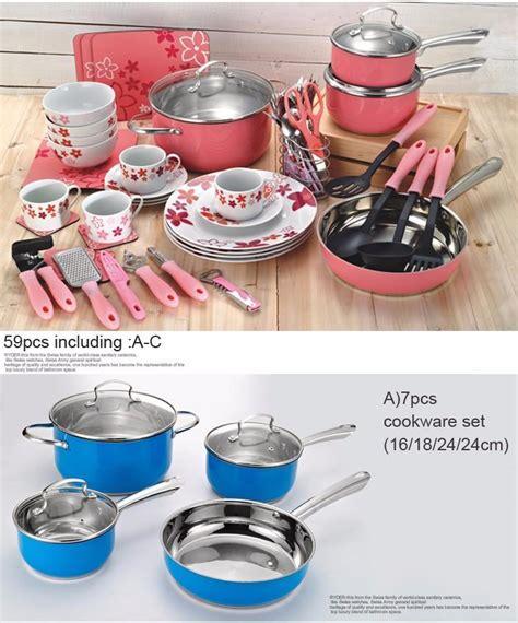 kitchen cabinet starter set new casserole aluminum cookware cooking pots and pans set 5806