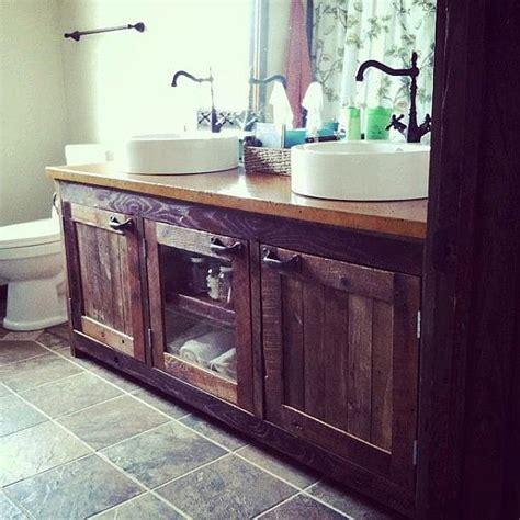your custom made rustic barn wood vanity cabinet