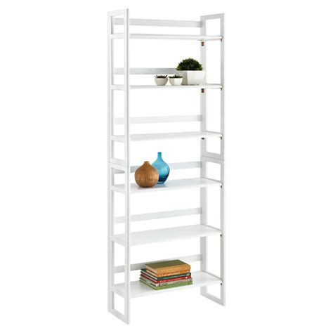 container store folding bookcase white solid wood stackable folding bookcase the