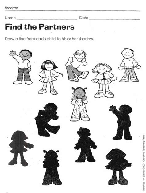 shadow matching worksheets lovetoteachorg