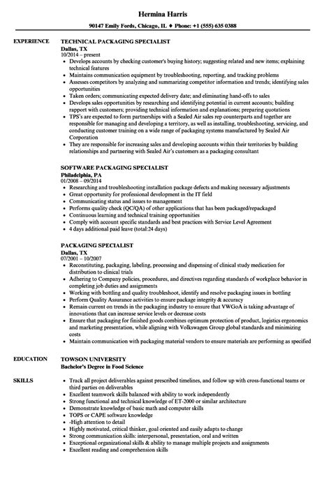 Resume For Packaging by Packaging Specialist Resume Sles Velvet