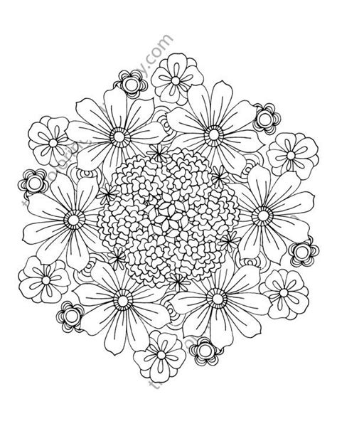 Flower coloring page, floral adult coloring page, digital