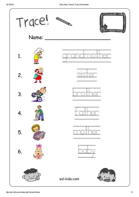esl family trace worksheet