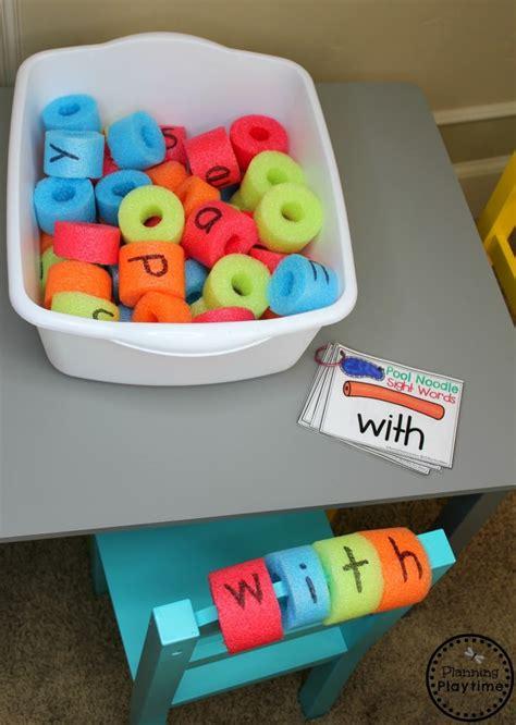 summer preschool planning playtime 867   Pool Noodle Sight Words Summer Preschool Activities