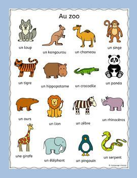 zoo animals in french worksheets 138 best images about elementary french for young language
