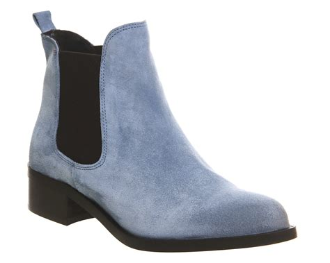 light blue suede heels office corsa pointed low block heel boots light blue suede