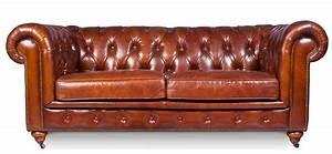 Canapé Vintage Cuir : canap 3 places cuir brun vintage chesterfield ~ Teatrodelosmanantiales.com Idées de Décoration