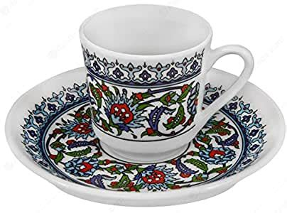 The water level you pour into the cup should be a little higher than that line. Set of 6 Porcelain China Turkish Coffee Cups + Saucers Topkapi Traditional Design: Amazon.ca ...