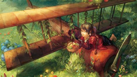 Hd Hintergrundbilder Mädchen Flugzeug Frucht Korb Garten