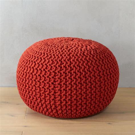 knitted blood orange pouf cb
