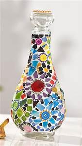 Papier Auf Glas Kleben : glasflasche mit buntem blumen mosaik bastelshop und hobby vbs bastelbedarf ~ Watch28wear.com Haus und Dekorationen