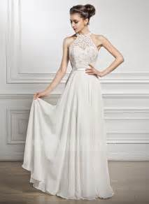 second fã r brautkleider a line princess scoop neck floor length chiffon lace wedding dress with beading sequins