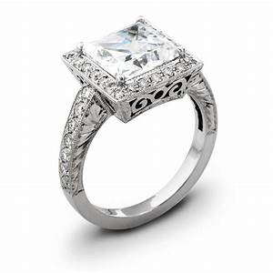 Handmade antique princess cut halo pave engagement ring by for Custom made wedding bands to fit engagement ring